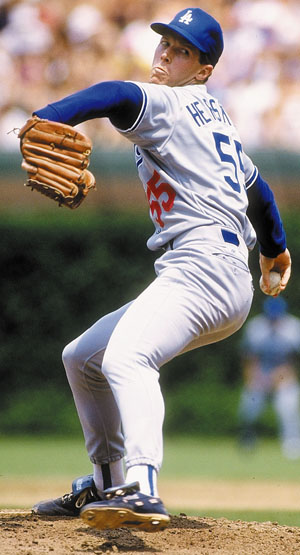 Orel hershiser Action  (Credit Los Angeles Dodgers)