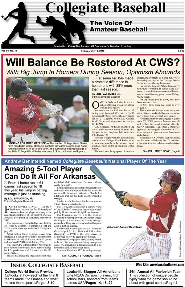 June 12 2015 Page 1 - Collegiate Baseball Newspaper